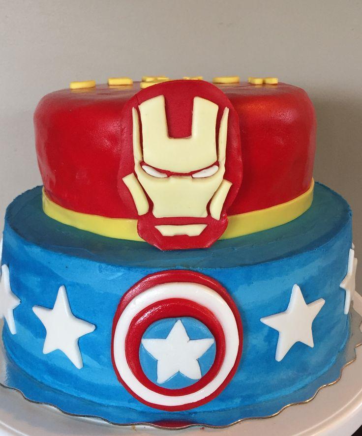 Captain america and iron man butter cream birthday cake