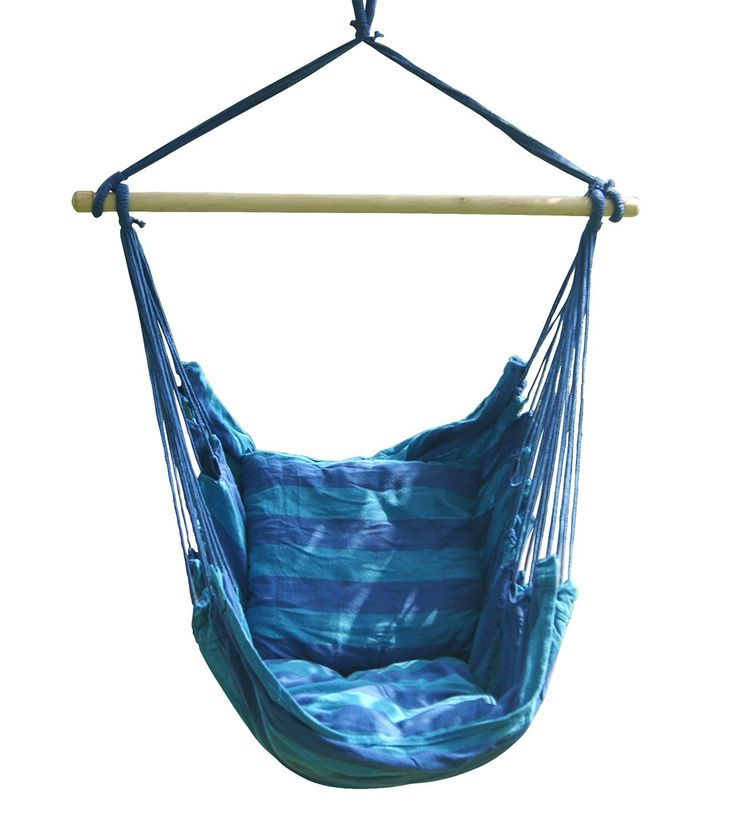 As you settle into the Soft Comfort Hanging Hammock Chair, you'll understand what true relaxation is all about! Made of long-lasting, weather-resistant spun polyester. Thick polyester fiberfill cushio