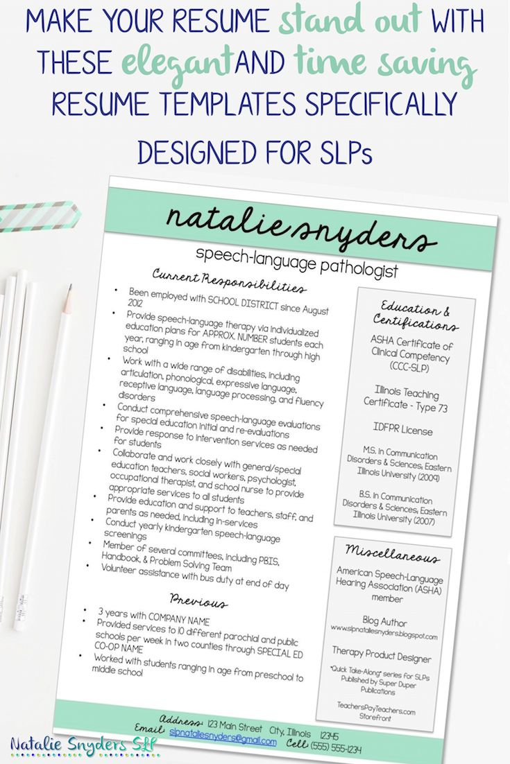 SLP U0026 Teacher Resume And Cover Letter Templates   Fully Editable