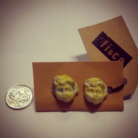 #majdolva #handmade #ceramic #pair of #cherub #angel #face #ear #studs with #surgical #steel #posts $12 #5cent #coin for #size #reference #handcrafted #pottery #clay #perthdesigner #angelface #earrings #jewels #jewellery