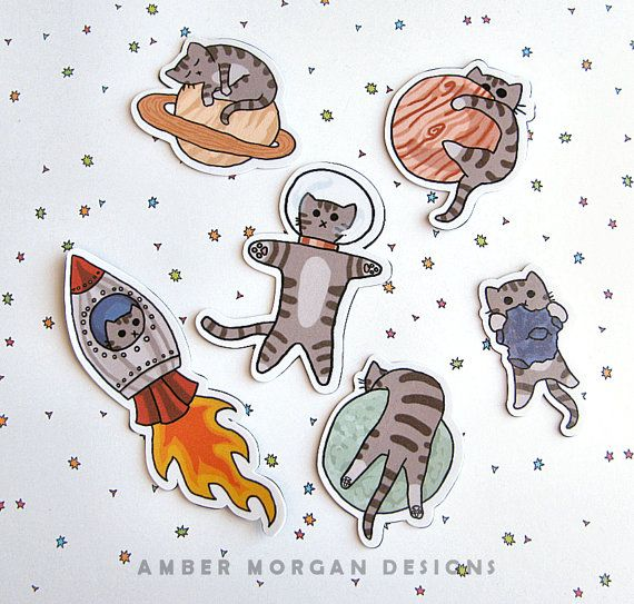 Cute Cat Magnet Set Refrigerator Magnets by AmberMorganDesigns