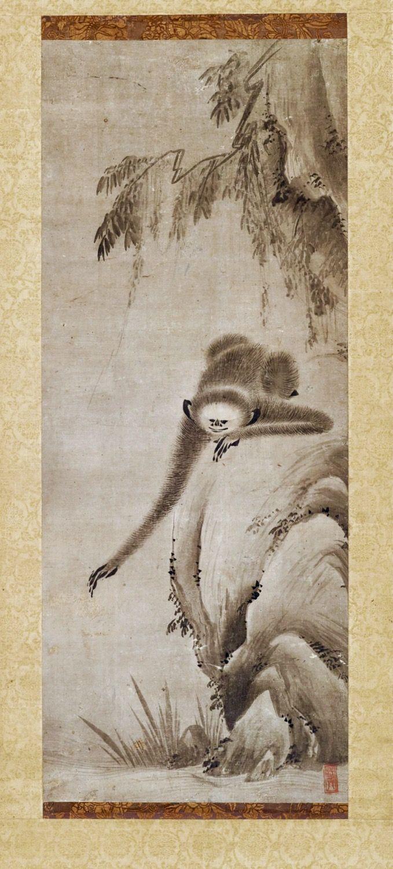 Monkey Reaching for the Moon's Reflection, 16th century. Japanese, Muromachi period, 1333–1568. Toki Tōbun 土岐洞文, 1502–1582. Hanging scroll; ink on paper
