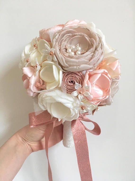 Rose gold brooch bouquet, champagne and ivory fabric flower bouquet, bridal bouquet, bridesmaid bouquet, brooch bouquet, artificial flower