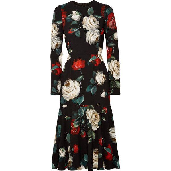 Dolce & GabbanaFloral-print Cady Midi Dress ($2,425) ❤ liked on Polyvore featuring dresses, black, rose print dress, flower print dresses, midi flare dress, white dress and white midi dress