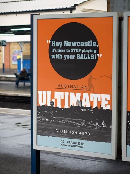 Promotional #Posterdesign for #AustralianUltimate 'frisbee' Championships event held in #Newcastle, Designed by #GraphicDesignNewcastle #NeonZoo