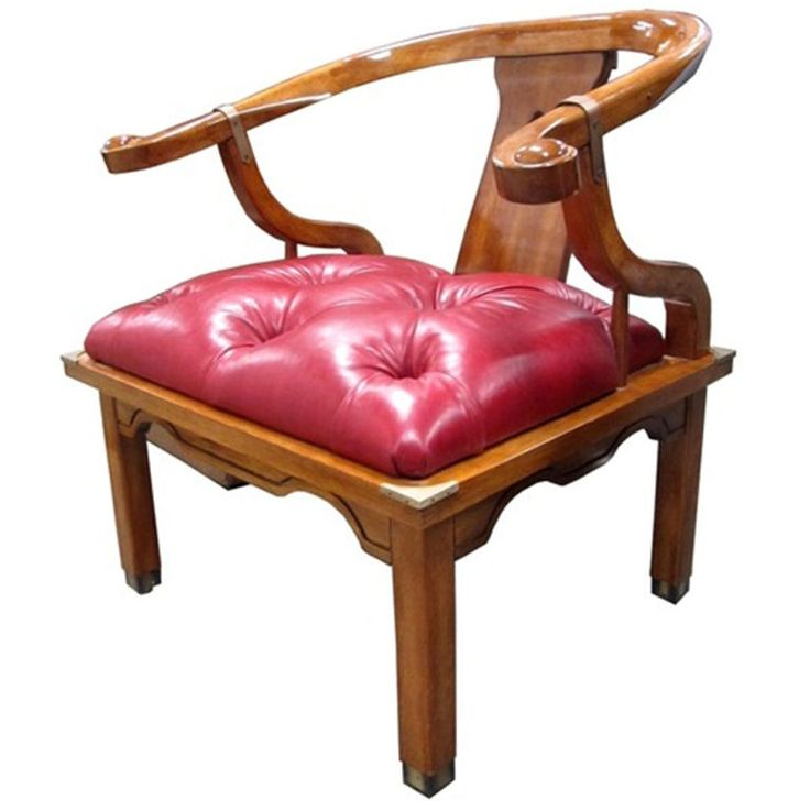 Asian Chair in Ox Blood Red Leather   From a unique collection of antique and modern armchairs at https://www.1stdibs.com/furniture/seating/armchairs/