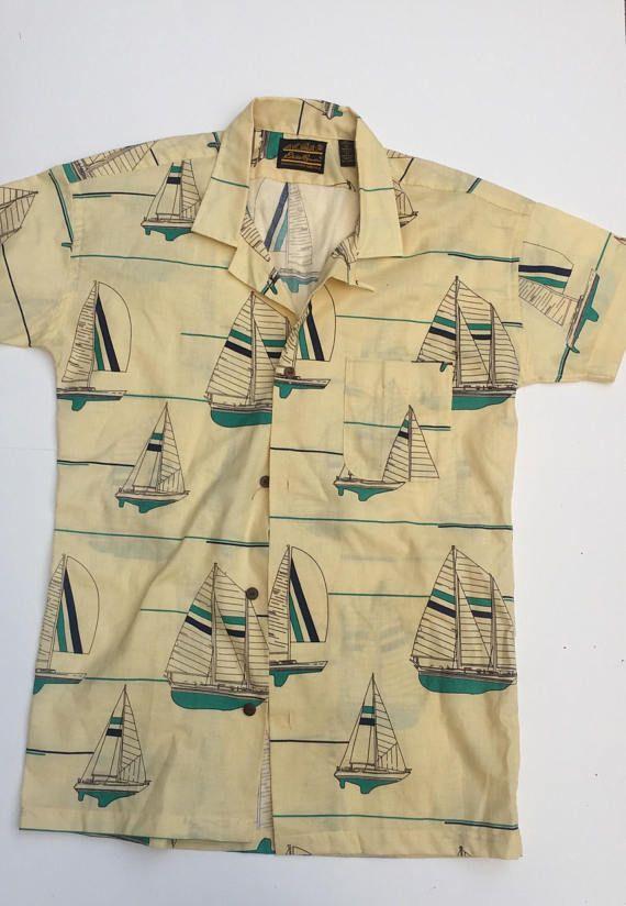 24dfa2ed53d80 1990s Vintage Eddie Bauer Short Sleeve Button Down Sailboat ...
