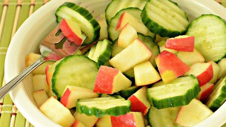 This salad can be made just as quickly as you can diced some apple and slice some cucumber, by using prepared raspberry vinaigrette salad dressing.