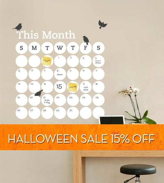 Daily Dot Dry Erase Wall Calendar - Vinyl Wall Decal | @giftryapp