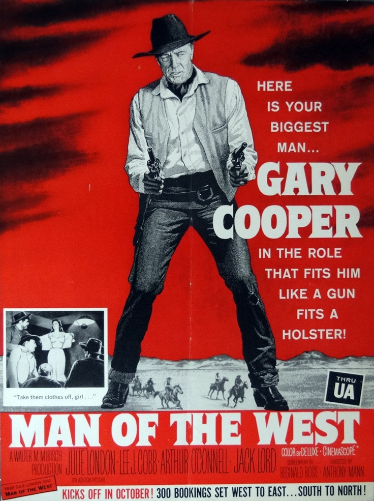 """man of the west"", gary cooper. 1955, dir. anthony mann.  movie trade / promo movie advertisement."