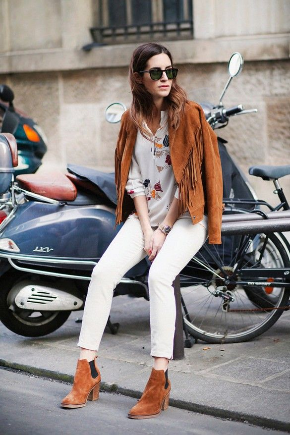 Printed Blouse and Suede Boots