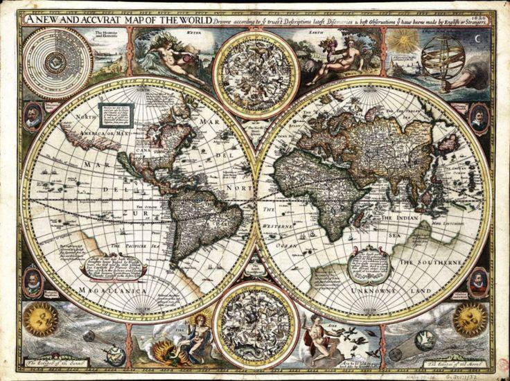 Mapamundi publicado en 1627, probablemente por el historiador y cartógrafo inglés John Speed