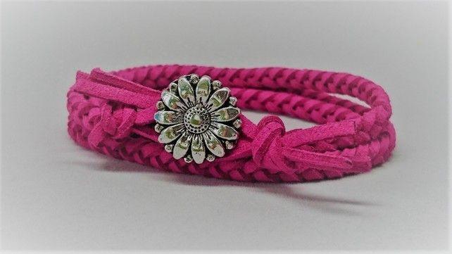 Fuschia pink faux suede wrap bracelet £10.00
