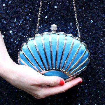 Shell Art Deco Teal Clutch purse handbag