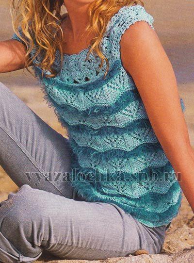 Blue Tunic free knit graph pattern