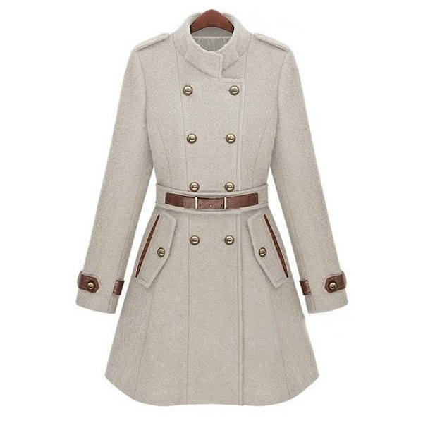 Beige Double Breasted Banded Collar Belt Woolen Coat ($96) ❤ liked on Polyvore