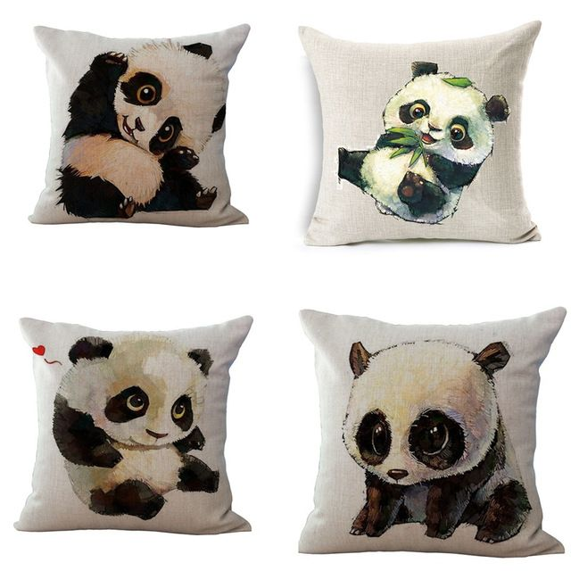 Pillow Case Cartoon Lovely Panda Cotton linen Blend cushion Car Sofa Chair Cushion Square 18x18 inches Cushion cover Home Decor
