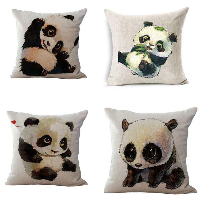 Pillow Case Cartoon Lovely Panda Cotton linen Blend cushion Car Sofa Chair Cushion Square 18x18 inches Cushion cover Home Decor
