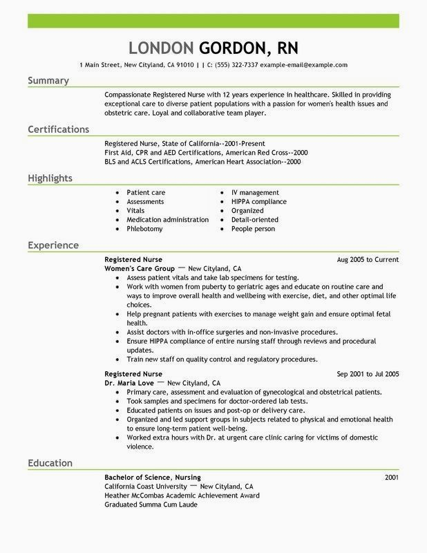 Professional Resume Example Instant Download 1 Page Resume Example For Ms Word Diy Resume In 2020 Nursing Resume Examples Nursing Resume Template Rn Resume Template