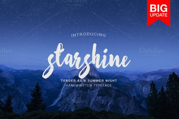Starshine Script Font - BIG UPDATE by MediaLab on @creativemarket #script #handwrittenfont