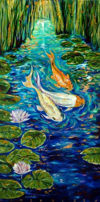 Best 25 koi painting ideas on pinterest for Koi canvas print