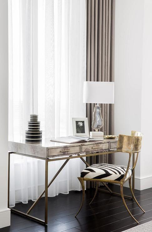 Atherton Shagreen Desk with Brass Klismos Chair and Zebra Seat Cushion
