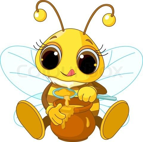 Cute Cartoon House | Stock vector of 'Cute Bee eating honey'