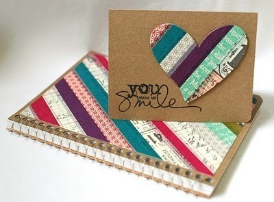 love this easy notebook cover   (and matching card) using just washi tape!  What an easy little gift.