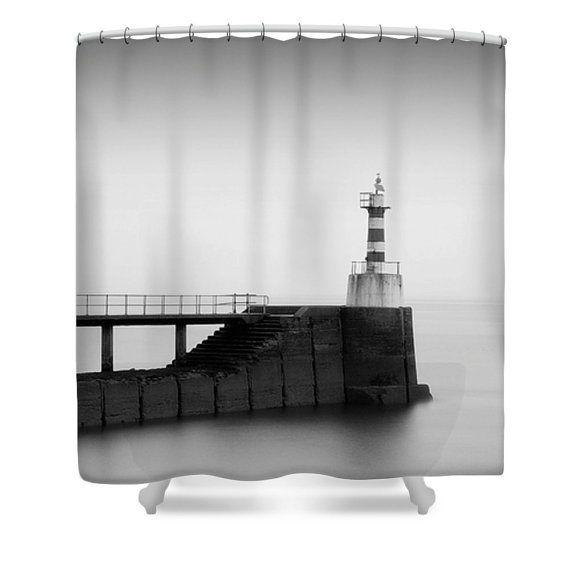 Lighthouse Shower Curtain, Lighthouse Bathroom Decor, Black And White, Grey Shower  Curtain,