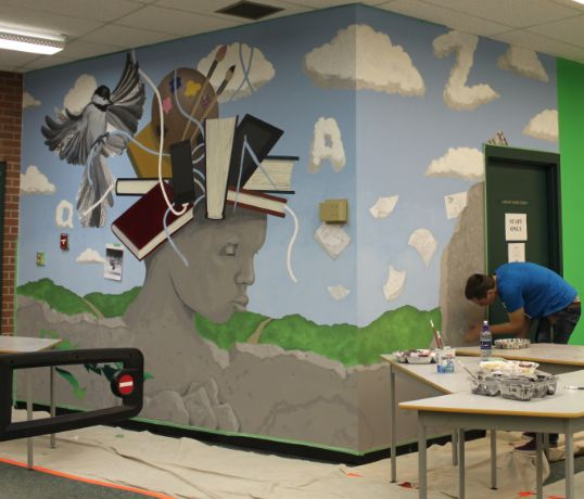Library entry wall mural bowness high school 2012 for Classroom wall mural