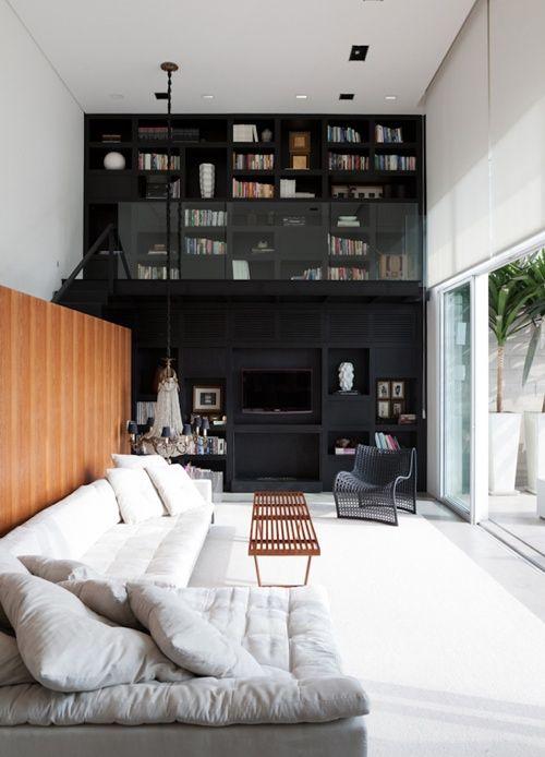 .Sao Paulo, Dreams, Livingroom, Interiors Design, Living Room, Loft, High Ceilings, House, Black Wall