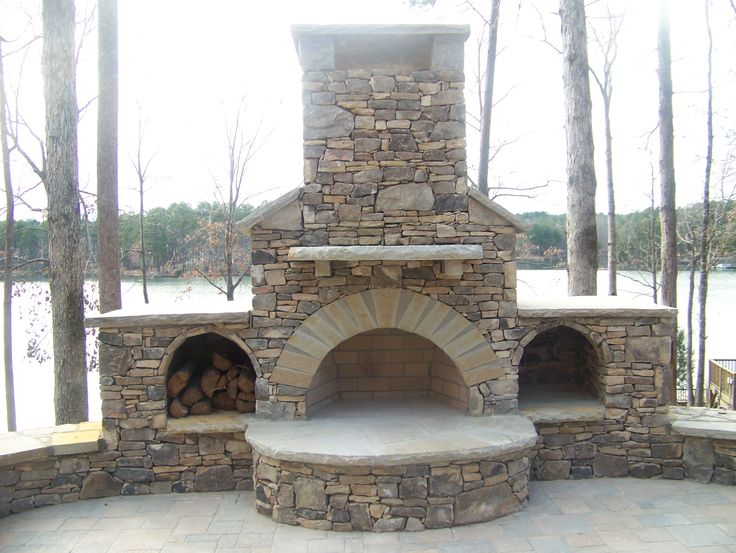 Outdoor Fireplace Built Into Retaining Wall The Dry Stack Manmade Fireplace Below Was Very