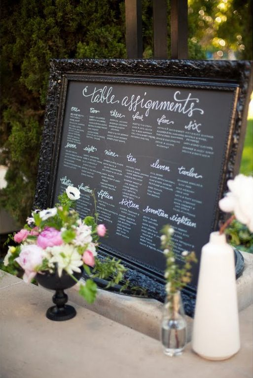 Chalkboard table arrangement.  Escort card alternative - find your seat - alphabetical instead of by table number