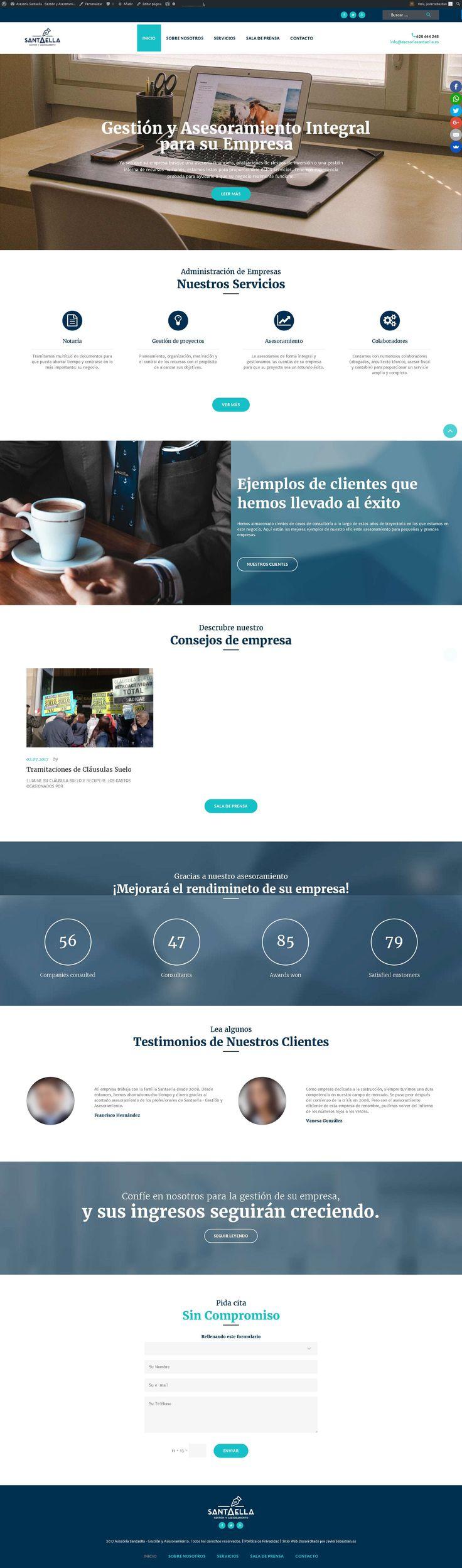 Diseño Web Santaella · Gestión y Asesoramiento -Javier Sebastián – Diseñador gráfico freelance – Diseño web – Imagen Corporativa – Redes Sociales – La Palma – Santa Cruz de Tenerife #webdesign #responsive #diseñoweb