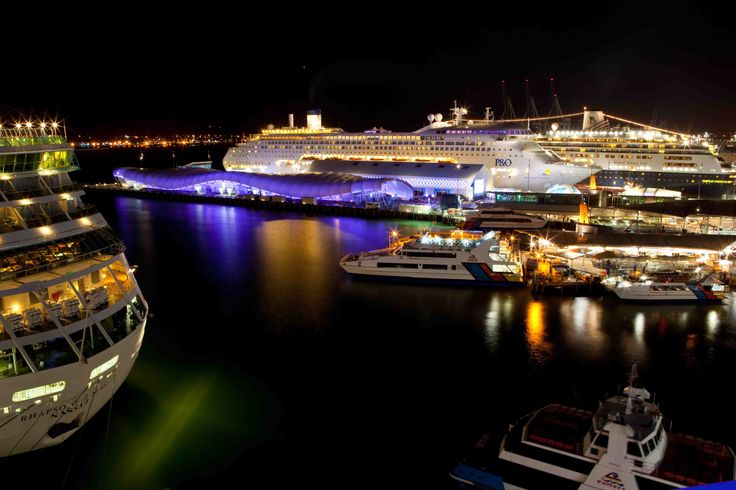 Queens Wharf at night - The Cloud and Shed 10 with cruiseship
