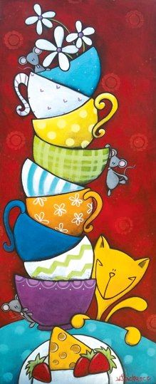 Tea cups and a cat