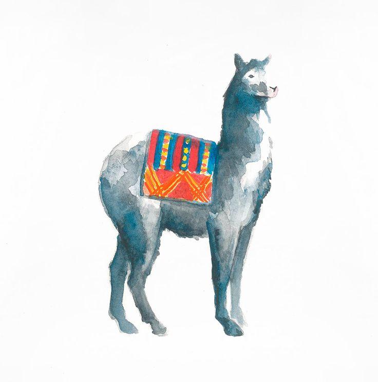 Llama: Original Watercolour Painting by CarlaEllisCreative on Etsy