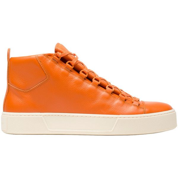Balenciaga High Sneakers ($279) ❤ liked on Polyvore featuring men's fashion, men's shoes, men's sneakers, man shoes arena sneakers, orange, balenciaga mens sneakers, mens orange shoes, mens orange sneakers and balenciaga mens shoes