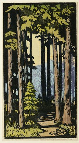 A shrine to Pan, 1930 by Frances Hammell Gearhart (b. 1869-1958), Californian artist (occasionally taught by Charles H. Woodbury) known for her colour woodcuts of the Sierras, the Pacific Coast, and the area around Big Bear Lake. She described sentinel trees, groves of eucalyptus, pines, oaks and Monterey cypress as well as valleys and canyons. http://www.francesgearhart.com/ Tags: Trees, Helen Elstone, Leaves.