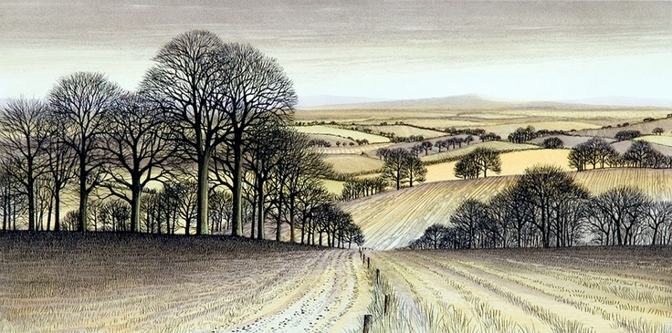 'Field Edge Track' by Kathleen Caddick This is a hand coloured etching and I found some of the line detail so fine that it almost suggests pen and ink. Lovely work. S