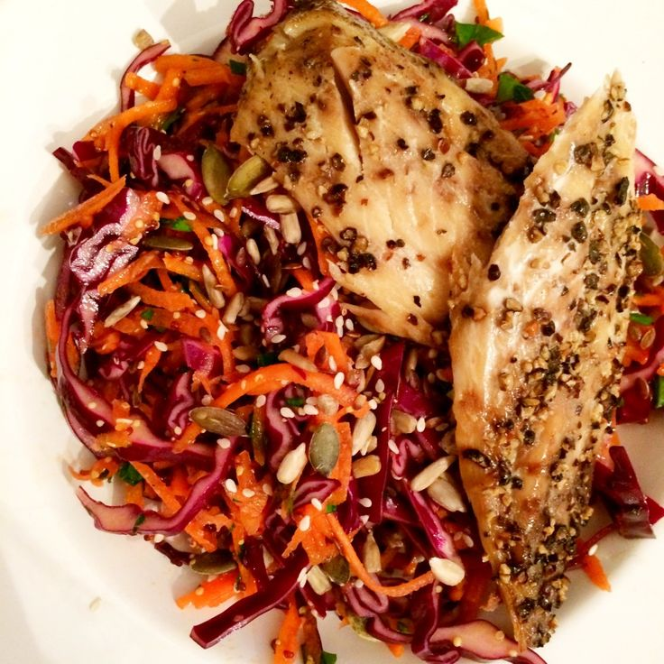 Spring super slaw with smoked mackerel.  It's seems that Spring is finally here! and with the weather being so glorious there is no better lunch or dinner than a delicious salad.  This slaw is so easy to make and packed with goodness. The carrots and cabbages are brimming with vitamin C and the seeds and mackerel provide your daily dose of omega 3 – its a win win!