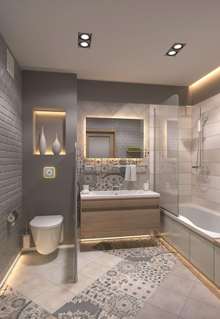 Piastrelle bagni moderni di colore grigio wc separato con un pannello mobile di legno cassetto - Piastrelle x bagni moderni ...