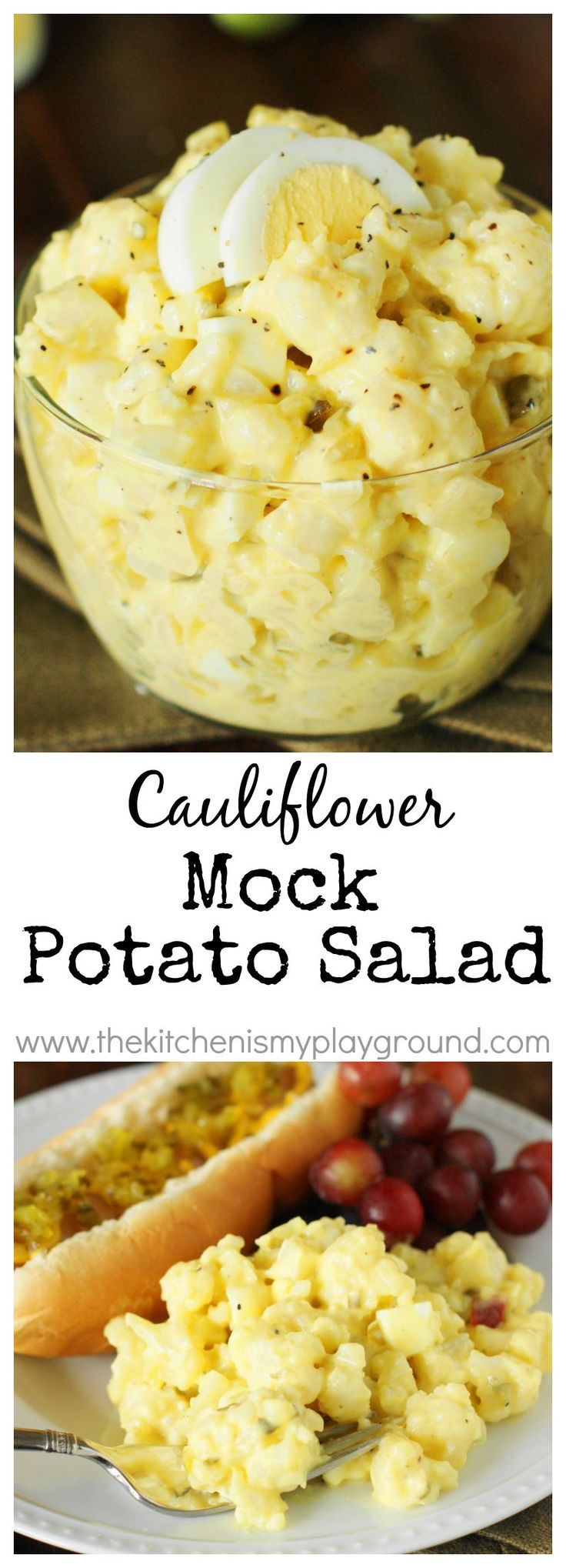 Cauliflower Mock Potato Salad ~ a full-of-flavor lower-carb version of our beloved potato salad!   #cauliflower #lowcarb #potatosalad www.thekitchenismyplayground.com