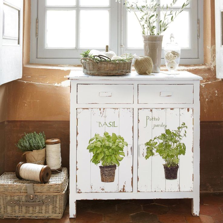 cabinet with hand painted herbs