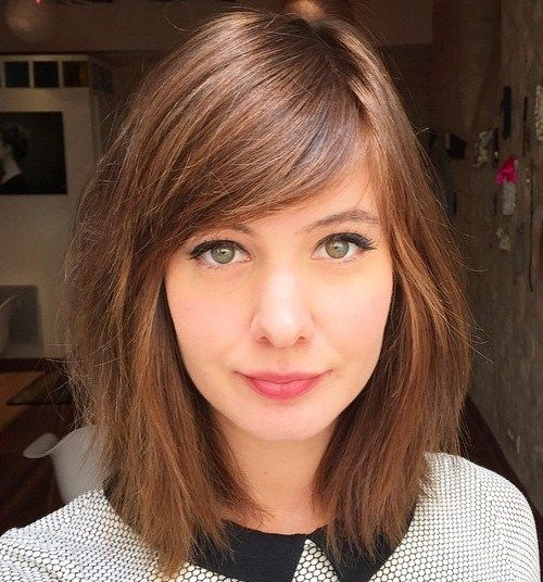 Medium Razored Haircut With Side Bangs