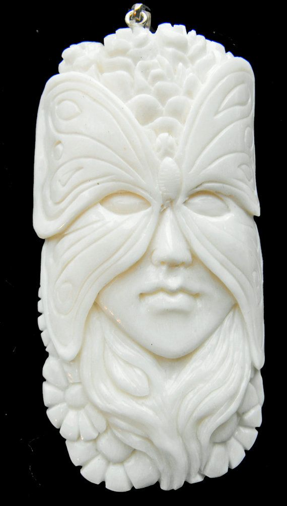 Hand carved bone pendant Butterfly Fairy Goddess mask Spirit Totem- create your own necklace! 13-09 on Etsy, $24.00
