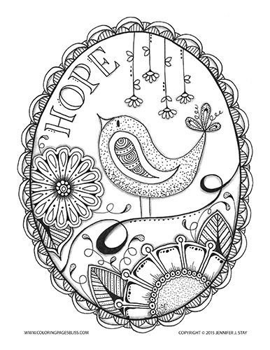 """""""Hope"""" Bird and Flowers Free Coloring Page 