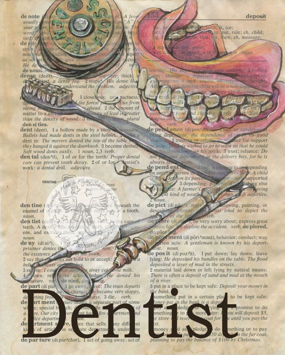 Mixed Media Drawing of Dentist Tools on Antique Dictionary - Flying Shoes Art Studio