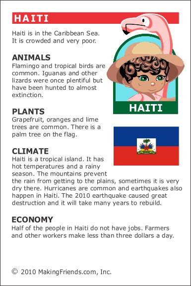 Haiti Fact Card for your Girl Scout World Thinking Day or International celebration. Free printable available at MakingFriends.com. Fits perfectly in the World Thinking Passport, also available at MakingFriends.com