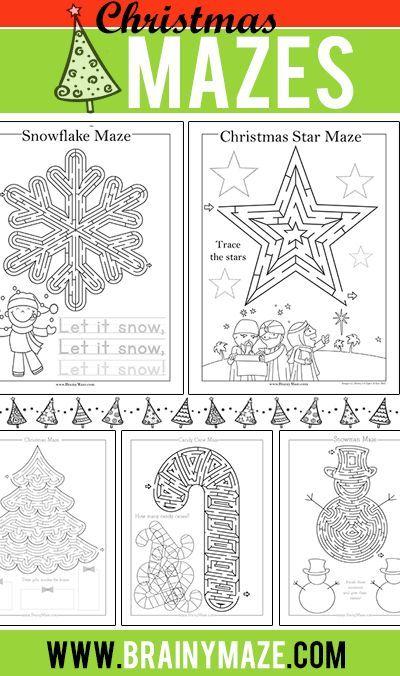 Christmas Mazes for Kids. Free printable Christmas mazes, star, snowflake, wise men, christmas tree, sleigh, ornament, snowman, stocking, bell, and more!